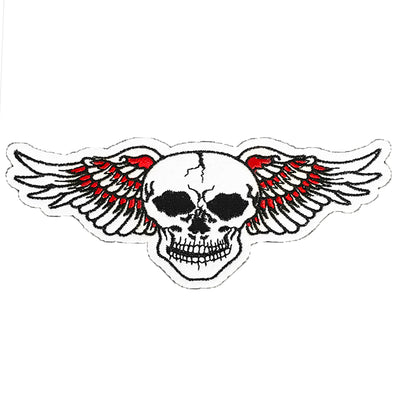 Orange Wing Skull Vintage Embroidered Patch