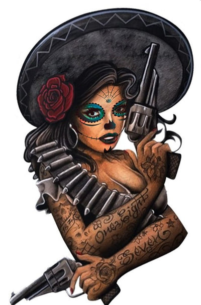 Six Shooter Bandido Pin Up Mini Decal/Sticker
