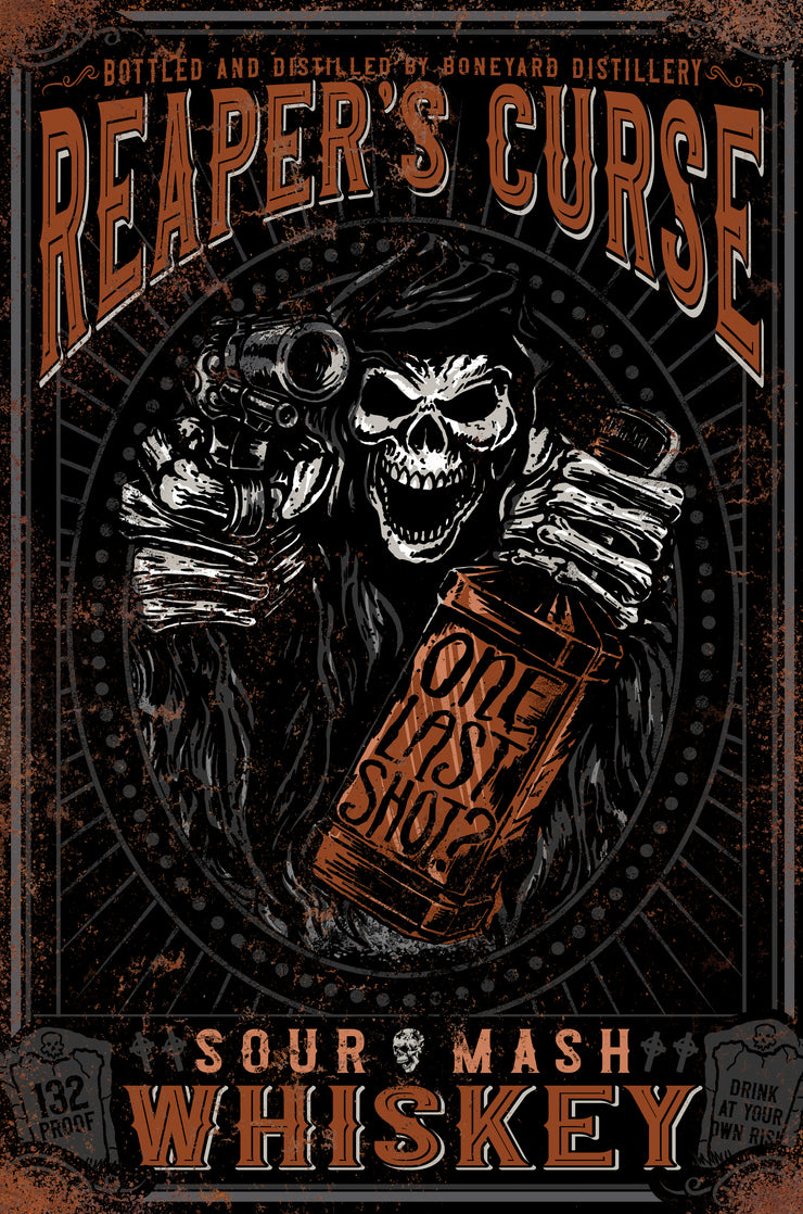 Reaper's Curse Sour Mash Whiskey Vintage Metal Sign