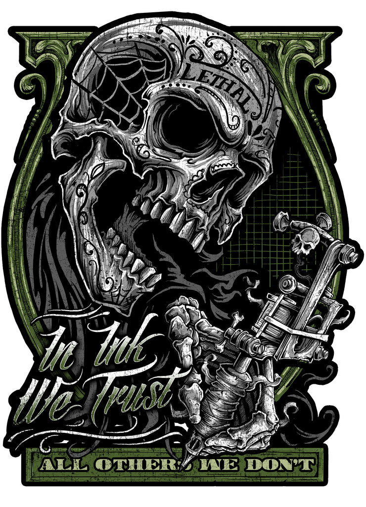 In Ink We Trust Tattoo Skull Vintage Metal Sign