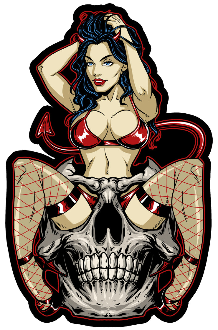 Devil Skull Pin Up Vintage Metal Sign