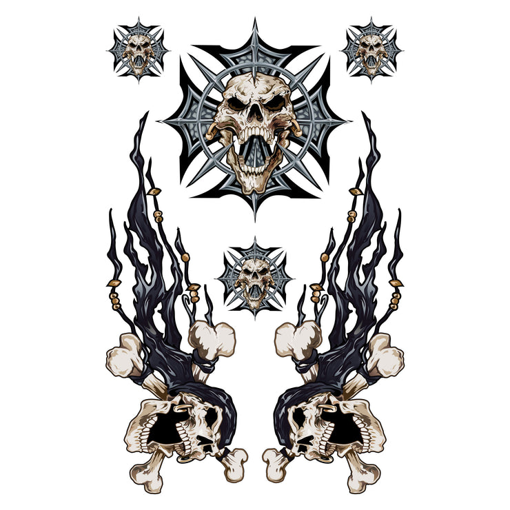 Iron Cross Skull Bandana Skull Decal Set
