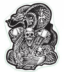 Cobra Snake V-Twin Motorcycle Engine Mini Decal/Sticker