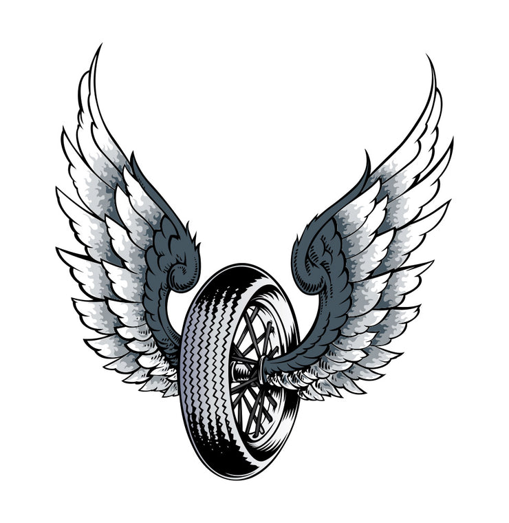 Rude & Crude Decal: Winged Tire Sticker