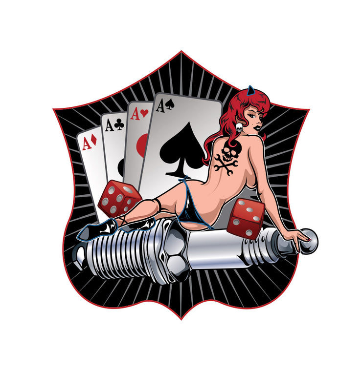 Rude & Crude Decal: Spark Plug Ace of Spades Pinup Sticker