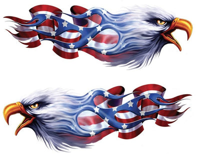 Flame Flag USA Eagle Left n Right Decal