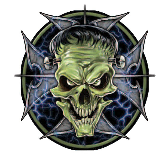 Frankenstein Monster Skull Sticker