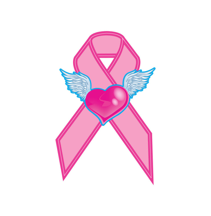 Rude & Crude Decal: Cancer Pink Ribbon Mini Decal/Sticker