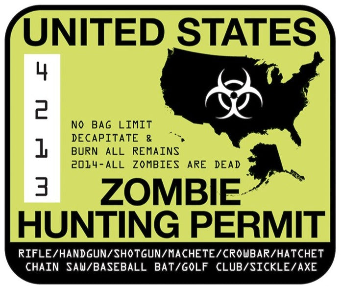 Rude & Crude Decal: Zombie Hunting Permit Sticker