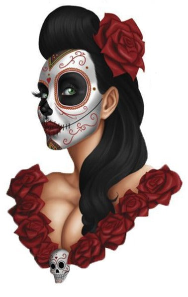 Rude & Crude Decal: Day of the Dead Girl Roses Sticker