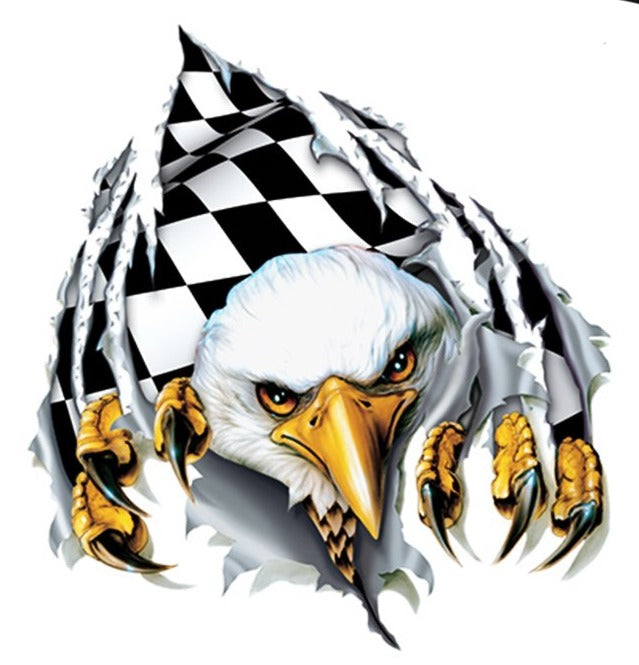 Rude & Crude Decal: Rip N Tear Checkered Eagle