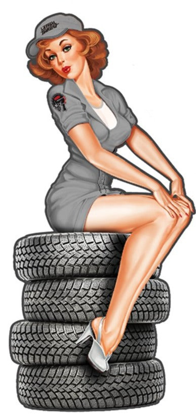 Rude & Crude Decal: Mechanic Tire Pin Up Girl Sticker