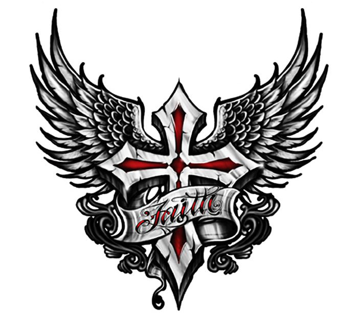 Faith Winged Cross Decal