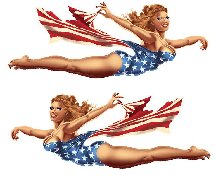 Vintage Nose Art  USA Pin Up Girl Sticker Set