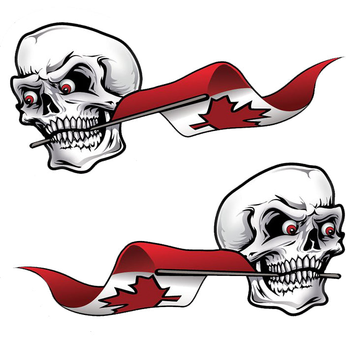 Rude & Crude Decal: Canada Flag Skull Red Eyes