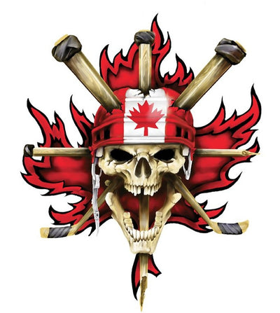 Canadian Maple Leaf Hockey Skull Decal