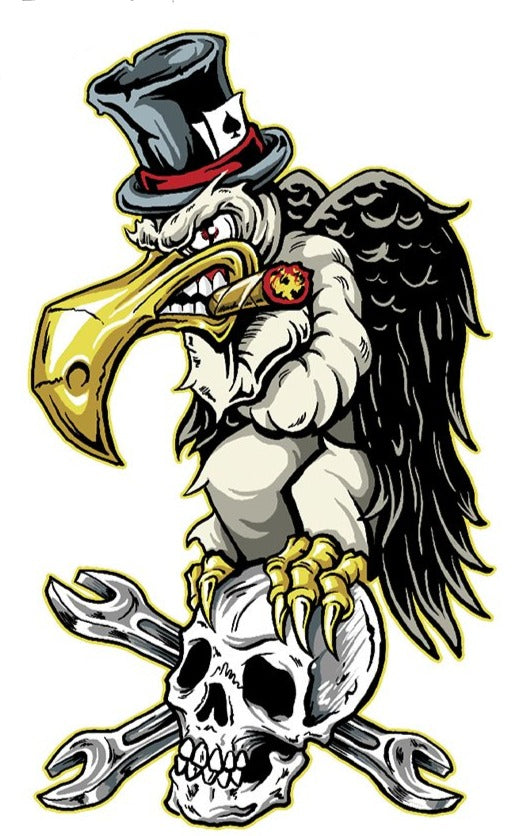 Rude & Crude Decal: Vulture n Skull Sticker