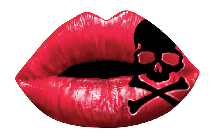 Rude & Crude Decal: Lip Skull Sticker