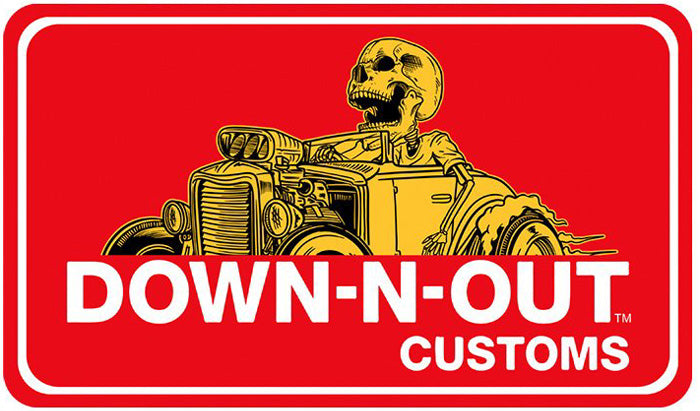 Down n Out Hot Rod Skull Rider Mini Decal/Sticker