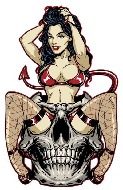 Rude & Crude Decal: Devil Skull Girl