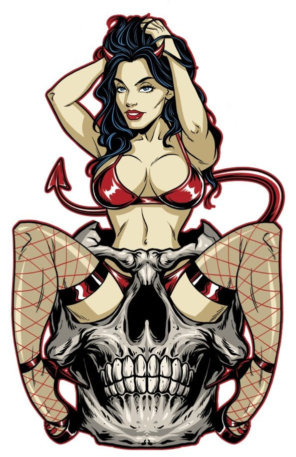 She Devil Skull Pin Up Girl Sticker