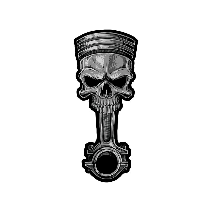 Rude & Crude Deal: Skull Piston Mini Decal/Sticker