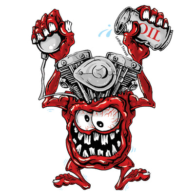 Rude & Crude: V-Twin Engine Head Monster Decal