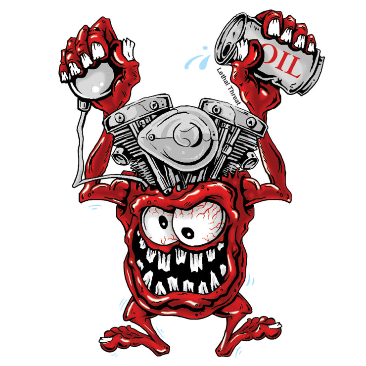 Rude & Crude: V-Twin Engine Head Monster Mini Decal/Sticker