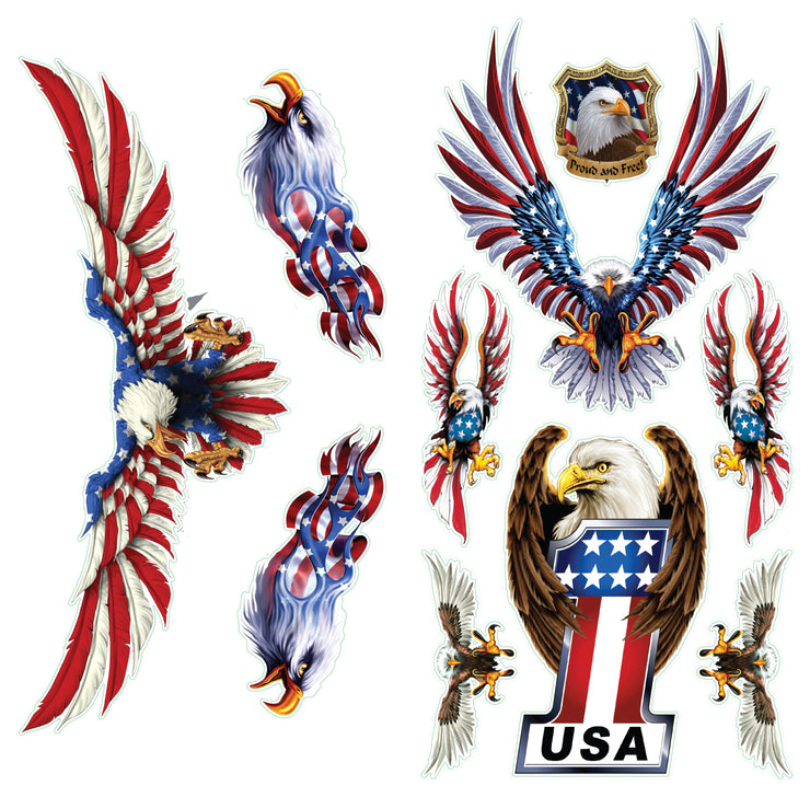 Flying Free USA Eagle Decal Series