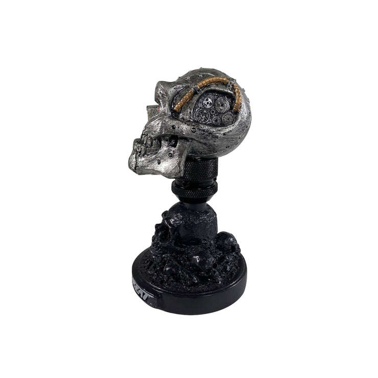 Cyborg Skull Head with Skull Display Stand