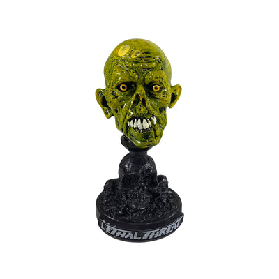 Neon Green Zombie Head with Skull Display Stand