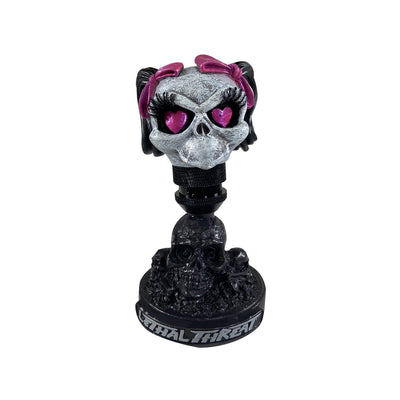 Girl Skull Head with Skull Display Stand
