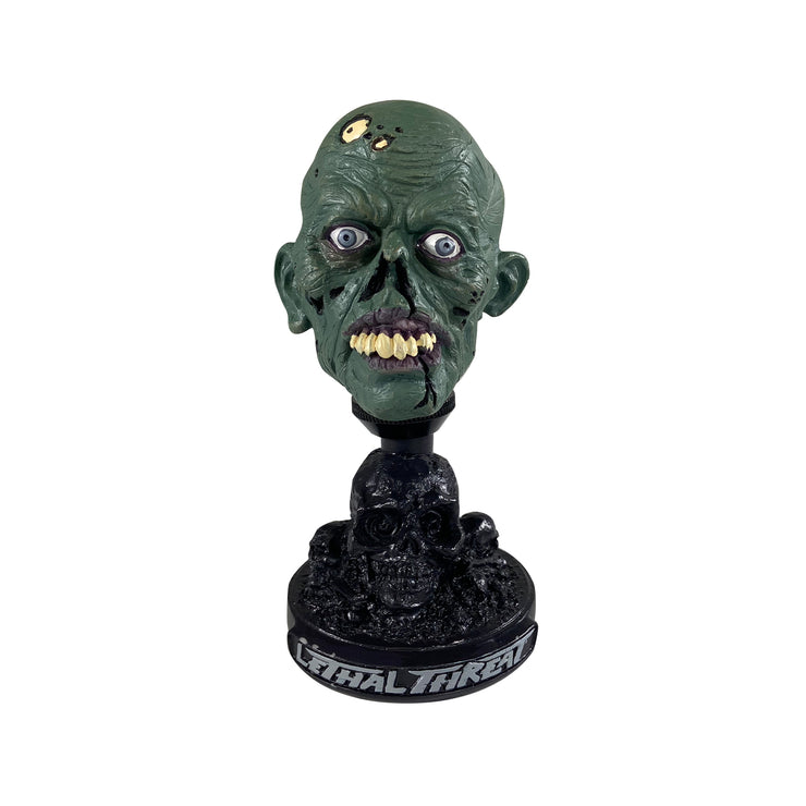 Green Zombie Head with  Skull Display Stand