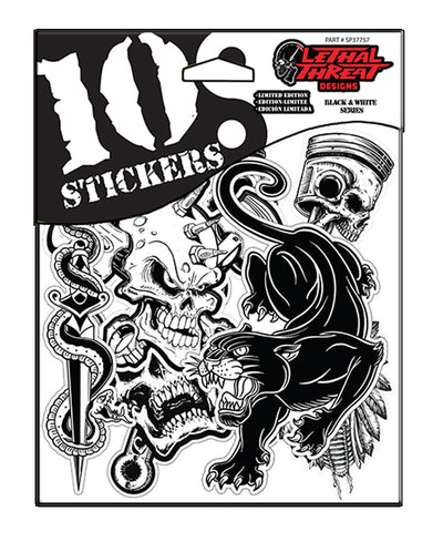 10 Stickers Black N White Series