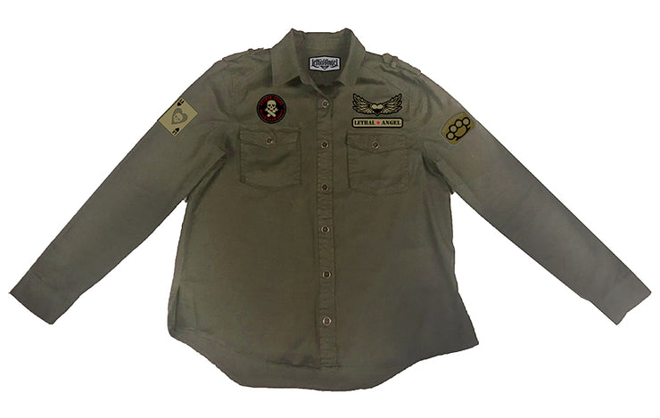 Untamed Flying Tiger Army Green Embroidered Button Down Shirt