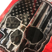 USA Flag Skull ABS Chrome & Black ABS Emblem