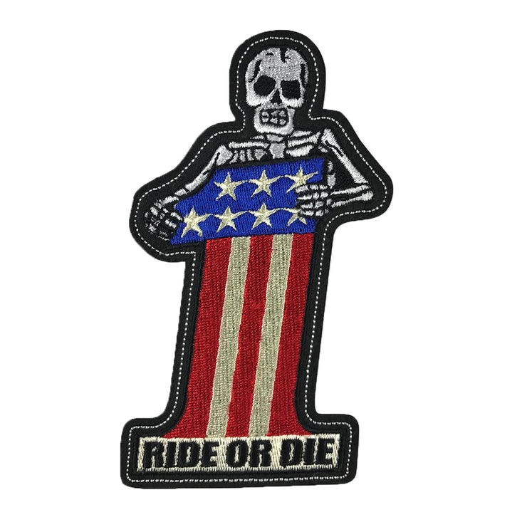 Ride or Die number One Skull Embroidered Patch