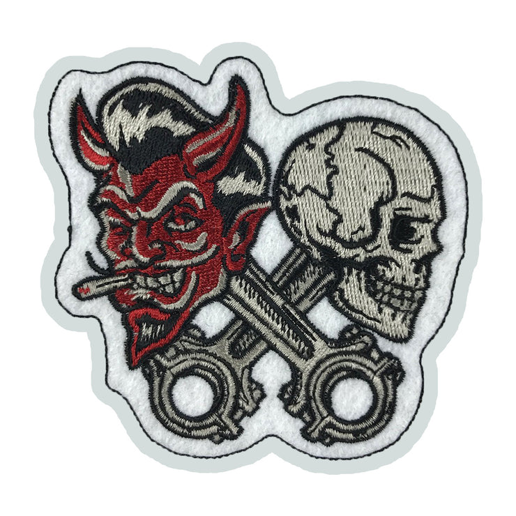 Raising Hell Devil n Skull Piston Embroidered Patch