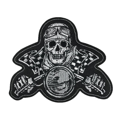 Vintage Biker Skull Embroidered Patch