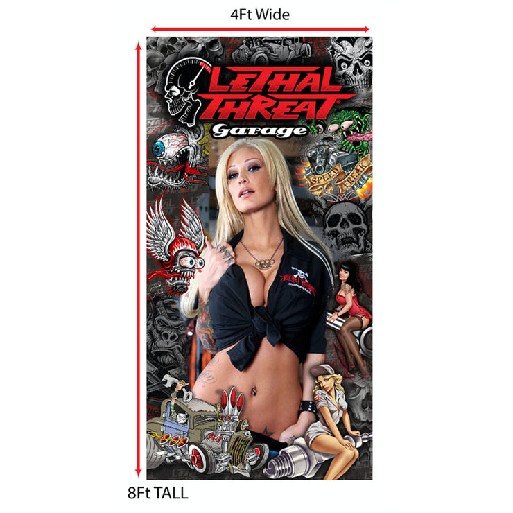Lethal Threat Model Queen Esther Pin Up Girl Hot Rod Cloth Banner