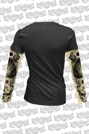 Love N Death Tattoo Sleeve V Neck Shirt