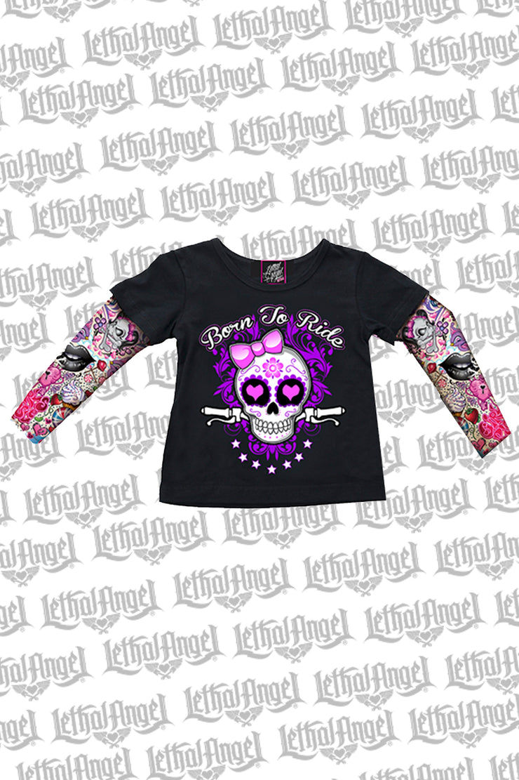 Girly Skull Kid's Tattoo Sleeve Shirt