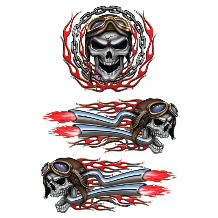 Vintage Racer Skull Decal Set