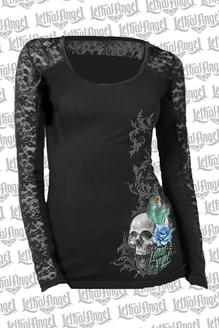 Peacock Feather Skull Long Lace Sleeve