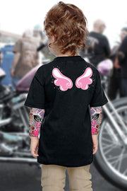Angel Wings Girl's Tattoo Sleeve Shirt