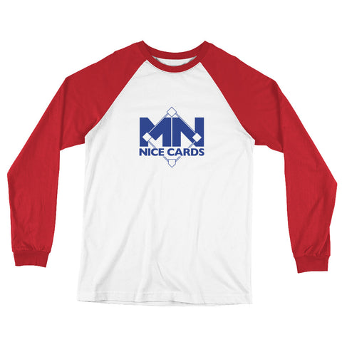 Long Sleeve Baseball T-Shirt - Blue Logo