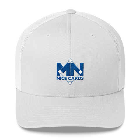 White Trucker Cap - Blue Logo