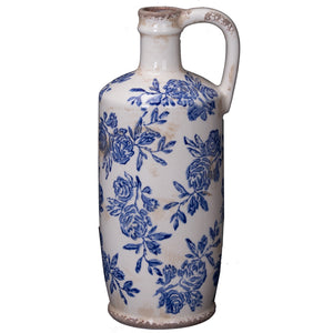 "13"" Antique Style Blue & White Ceramic Vase W/ Handle"