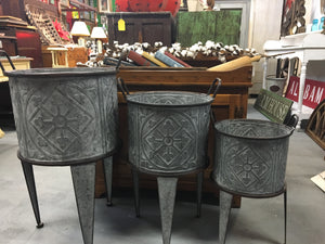 Set of 3 Galvanized Buckets on stands