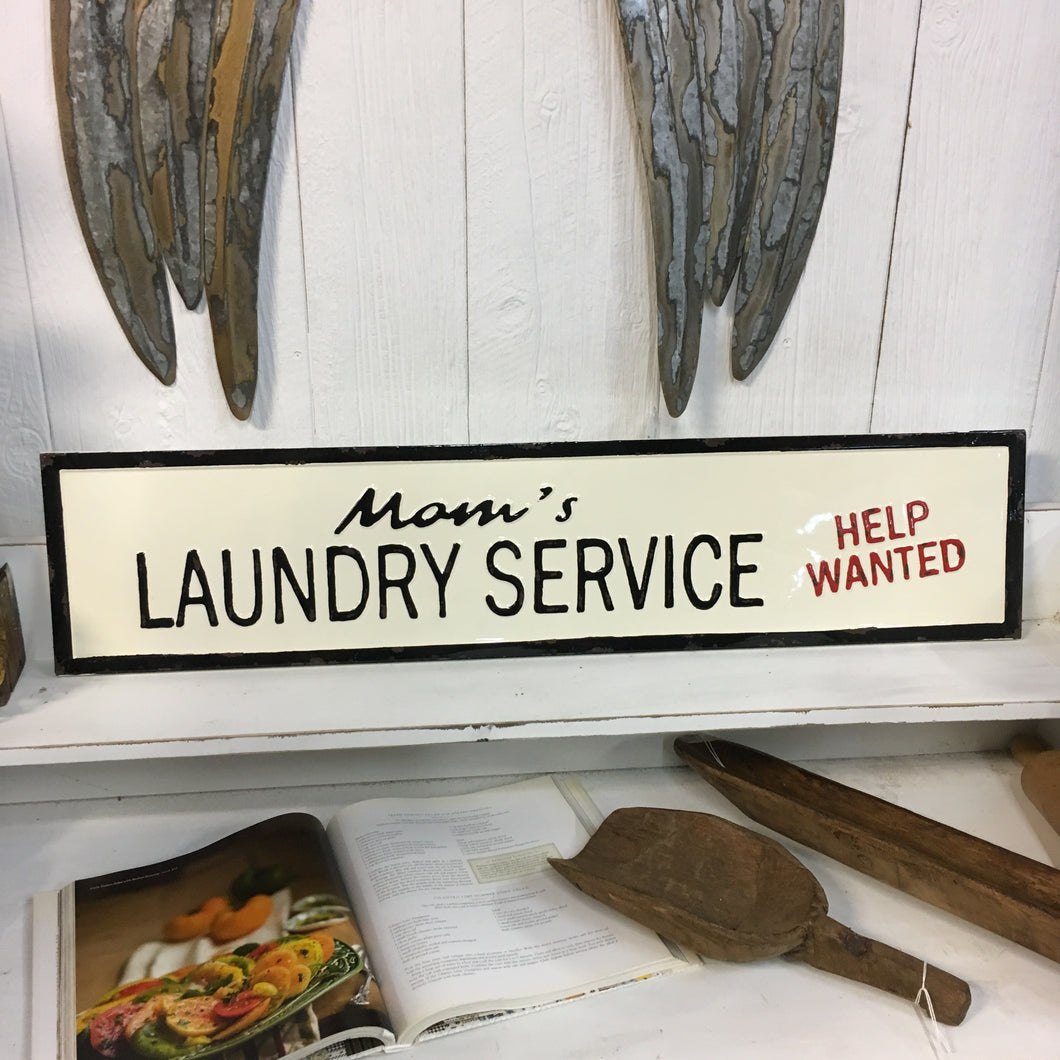 Embossed Metal Mom's Laundry Service Sign